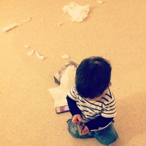 Never... NEVER... leave the boy alone with a box of tissues... Or in today's case, a jar of ink.